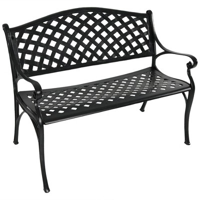 Cast Aluminum 2-Person Checkered Garden Bench - Black - Sunnydaze Decor