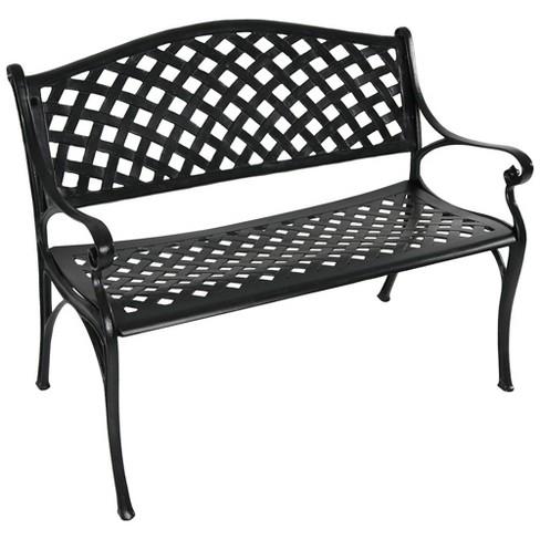 Sunnydaze 2 Person Checd Design, White Cast Aluminum Garden Benches
