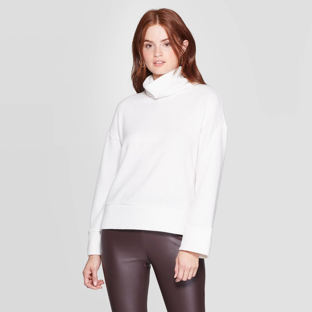 Women's Turtleneck Cozy Pullover - A New Day Cream XL, Ivory was $27.99 now $19.59 (30.0% off)