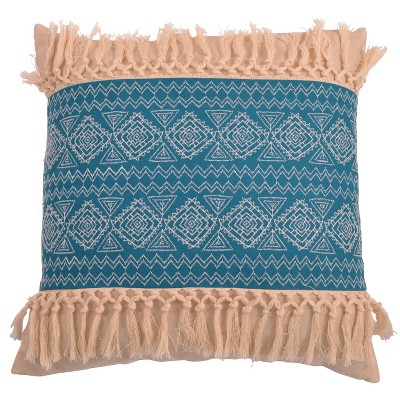 Harriet Embroidered Fringe Oversize Square Throw Pillow Teal - Decor Therapy