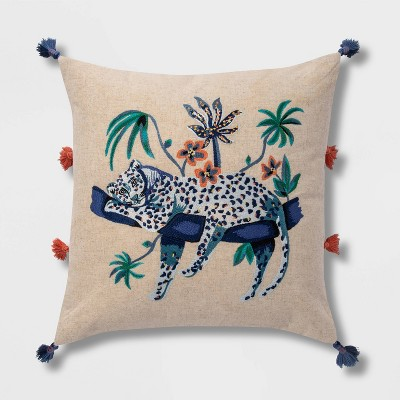 Embroidered Leopard Faux Linen Square Throw Pillow with Tassels Blue - Opalhouse™