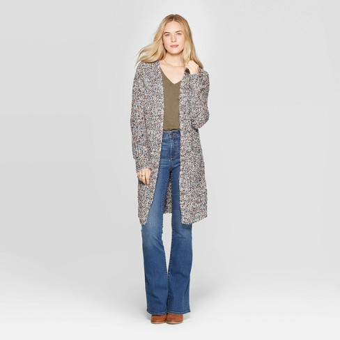 Women's Long Sleeve Textured Duster Cardigan - Universal Thread™ Gray - image 1 of 3