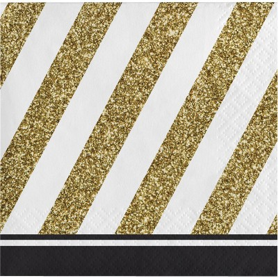48ct Striped Disposable Beverage Napkins