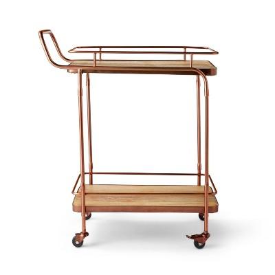 Metal & Wood Bar Cart Aged Copper Finish - Levi's® x Target