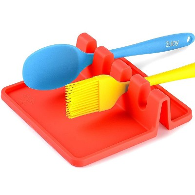 Zulay Kitchen Heat Resistant Silicone Utensil Rest with Drip Pad for Multiple Utensils at Once