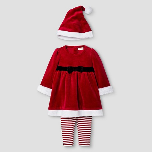 Baby Girls' 3 Piece Santa Outfit Cat & Jack™ - Red 0-3M - image 1 of 2