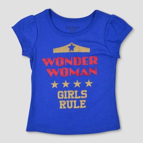 93fbd8b6 Toddler Girls' 3pk DC Comics Wonder Woman Short Sleeve T-Shirt - Blue/Red :  Target