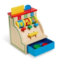 Melissa & Doug Spin and Swipe Wooden Toy Cash Register With 3 Play Coins and Pretend Credit Card