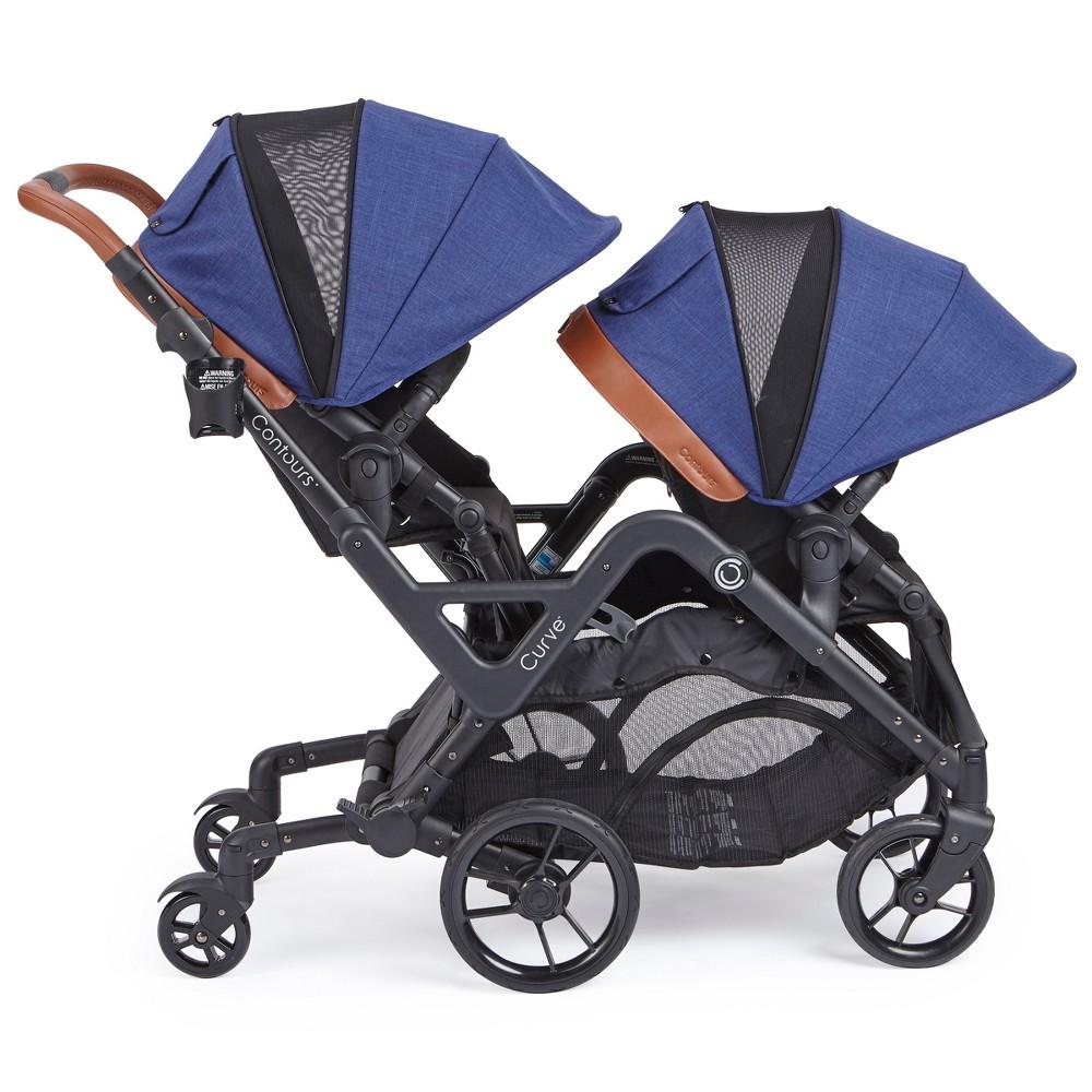 Image of Contours Curve Tandem Double Stroller - Indigo, Blue