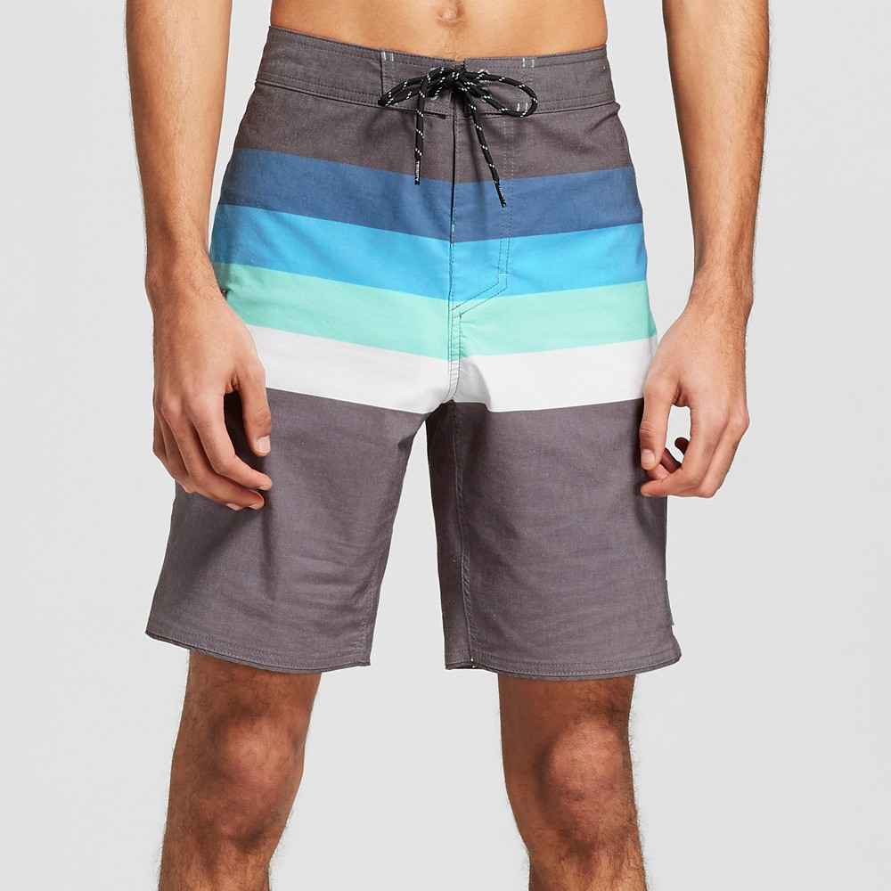 Men's Striped 8.5 Vector Scallop Board Shorts - Trinity Black 33