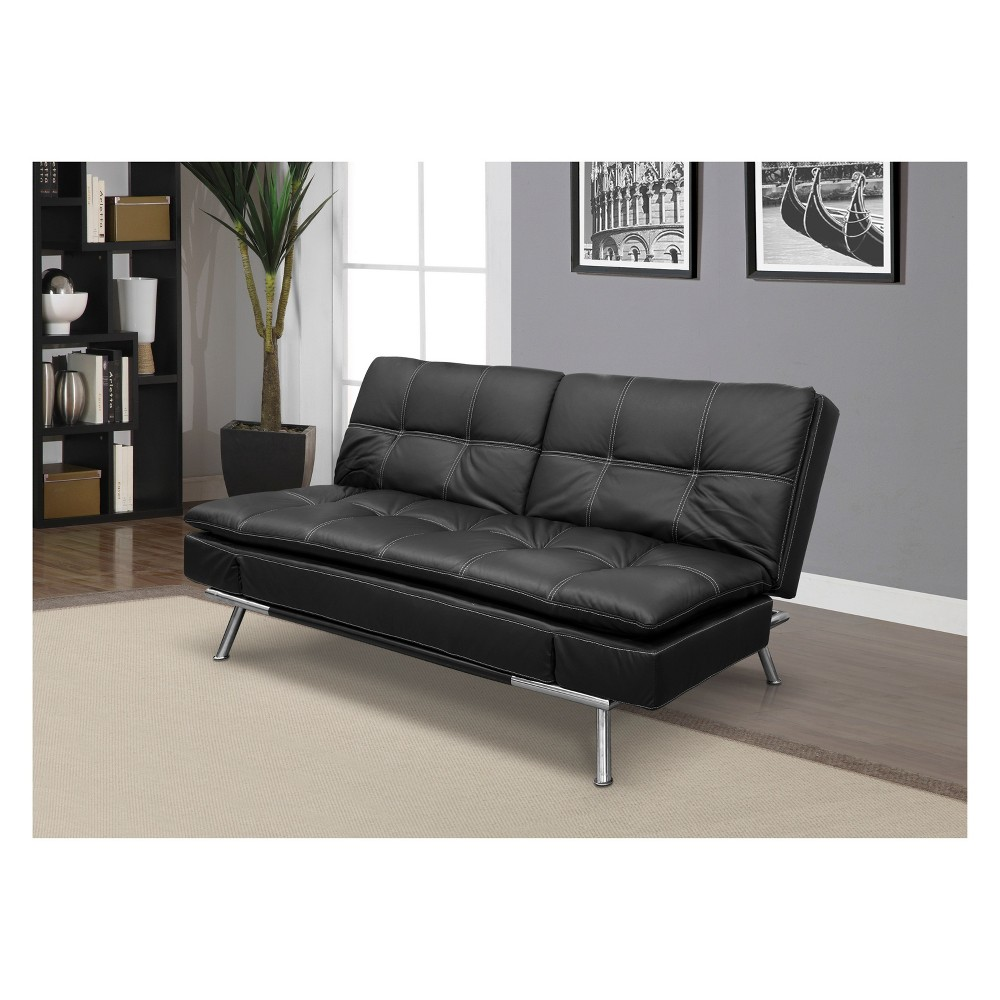 Morgan Bonded Leather Double Cushion Convertible Sofa in Black with Tan Stitching - Serta