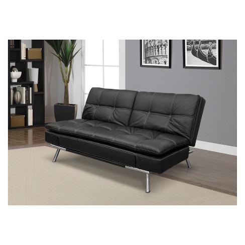 Morgan Bonded Leather Double Cushion Convertible Sofa In Black With Tan Sching Serta