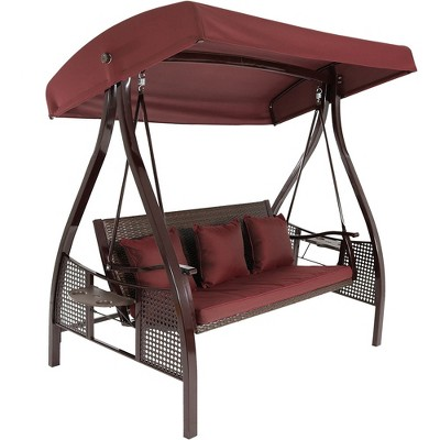 Sunnydaze Outdoor Deluxe 3-Person Patio Swing with Tilting Canopy Shade, Cushions and Side Tables, Maroon