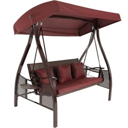 Deluxe Steel Frame Cushioned Swing with Canopy and Side Tables - Maroon - Sunnydaze Decor