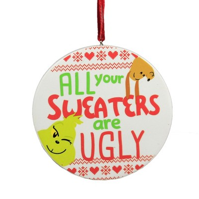"""Holiday Ornament 3.25"""" Grinch Ugly Sweater Ornament Dr. Seuss  -  Tree Ornaments"""