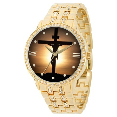 Men's eWatchfactory Jesus Cross Round Bracelet Watch - Gold