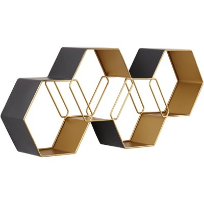 Newhill Designs Roscoe Matte Gray and Gold Hexagonal Stack Metal Wall Shelf
