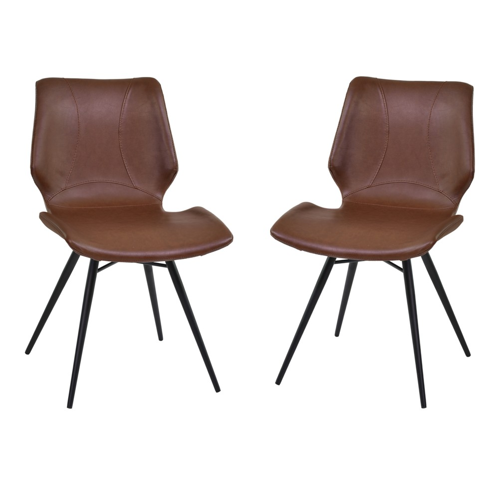 Zurich Dining Chair Set of 2 in Vintage Coffee Faux Leather and Black Metal Finish - Armen Living, Brown
