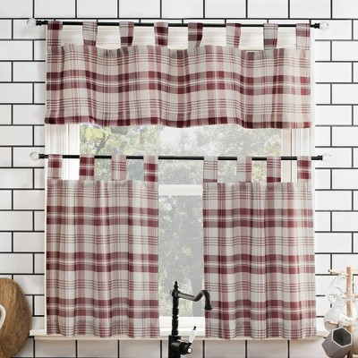 Blair Farmhouse Plaid Semi-Sheer Tab Top Kitchen Curtain Valance and Tiers Set - No. 918