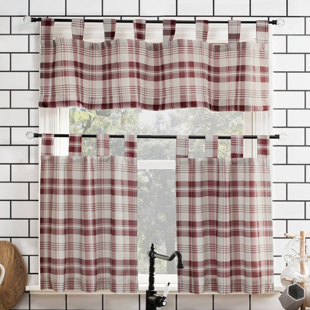 "Image of ""24""""x52"""" Blair Farmhouse Plaid Semi-Sheer Tab Top Kitchen Curtain Valance and Tiers Set Red/Black - No. 918"""