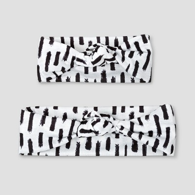 Baby Girls' 2pc Mommy & Me Print Knot Headbands - Cat & Jack™ Black/White