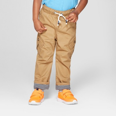 Toddler Boys' Tapered Fit Open Leg Cargo Pockets Pull-On Pants - Cat & Jack™ Brown 3T