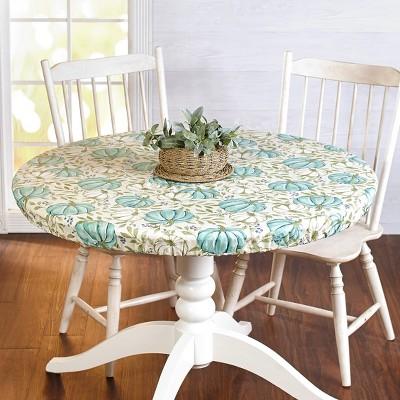 Lakeside Harvest Season Custom Fit Round Tablecloth with Blue Pumpkin Motif