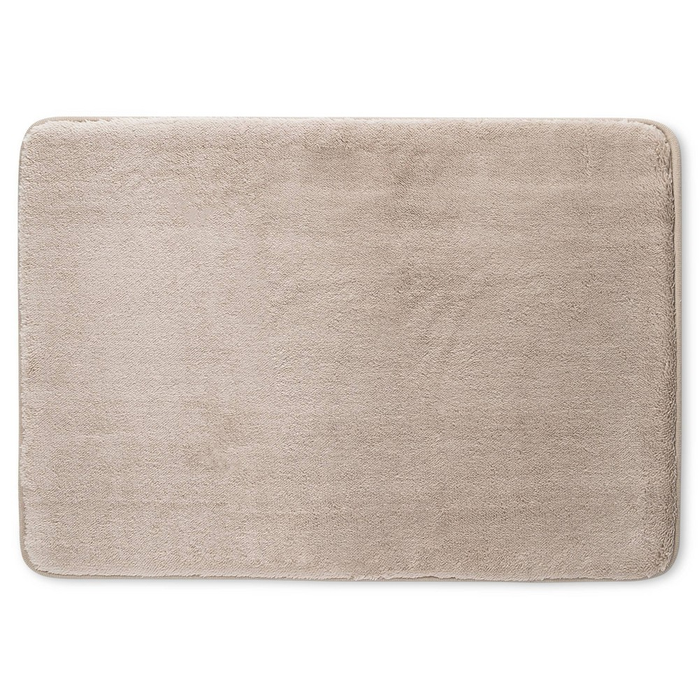 "Image of ""24"""" x 17"""" Velveteen Memory Foam Bath Rug Light Taupe - Room Essentials"""