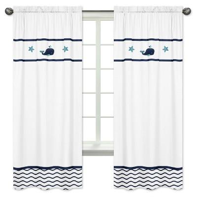Blue & White Whale Curtain Panels - Sweet Jojo Designs®