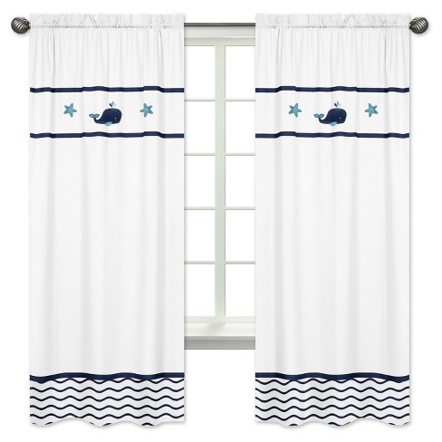 Blue & White Whale Curtain Panels - Sweet Jojo Designs - image 1 of 1