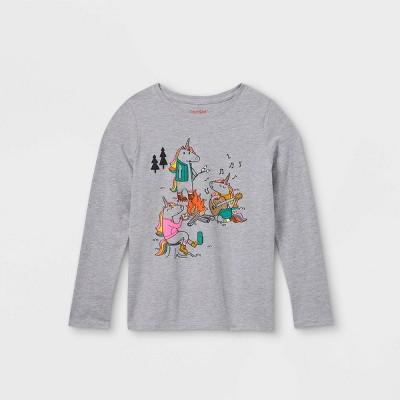 Girls' Printed Graphic Long Sleeve T-Shirt - Cat & Jack™ Heather Gray