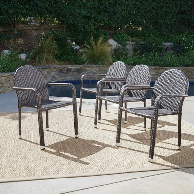 Aurora 4pk Wicker Arm Chairs - Brown - Christopher Knight Home