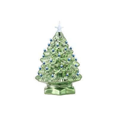 """Mr. Christmas Nostalgic LED Light Color Changing Christmas Tree - Metallic Green - 12"""""""