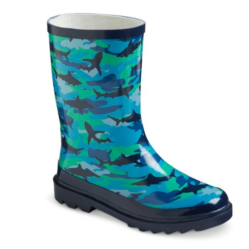 Boys' Shark Camo Rain Boots - Blue 2 - image 1 of 3