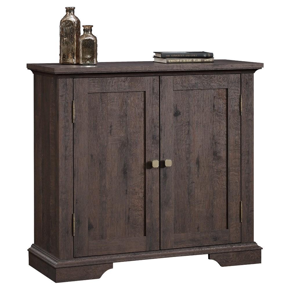 New Grange 2 Door Accent Storage Cabinet - Coffee Oak - Sauder, White Silver