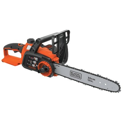 BLACK+DECKER 40V MAX Lithium Chainsaw with 12  Oregon Bar and Chain and Tool Free Tensioning - Orange Sorbet