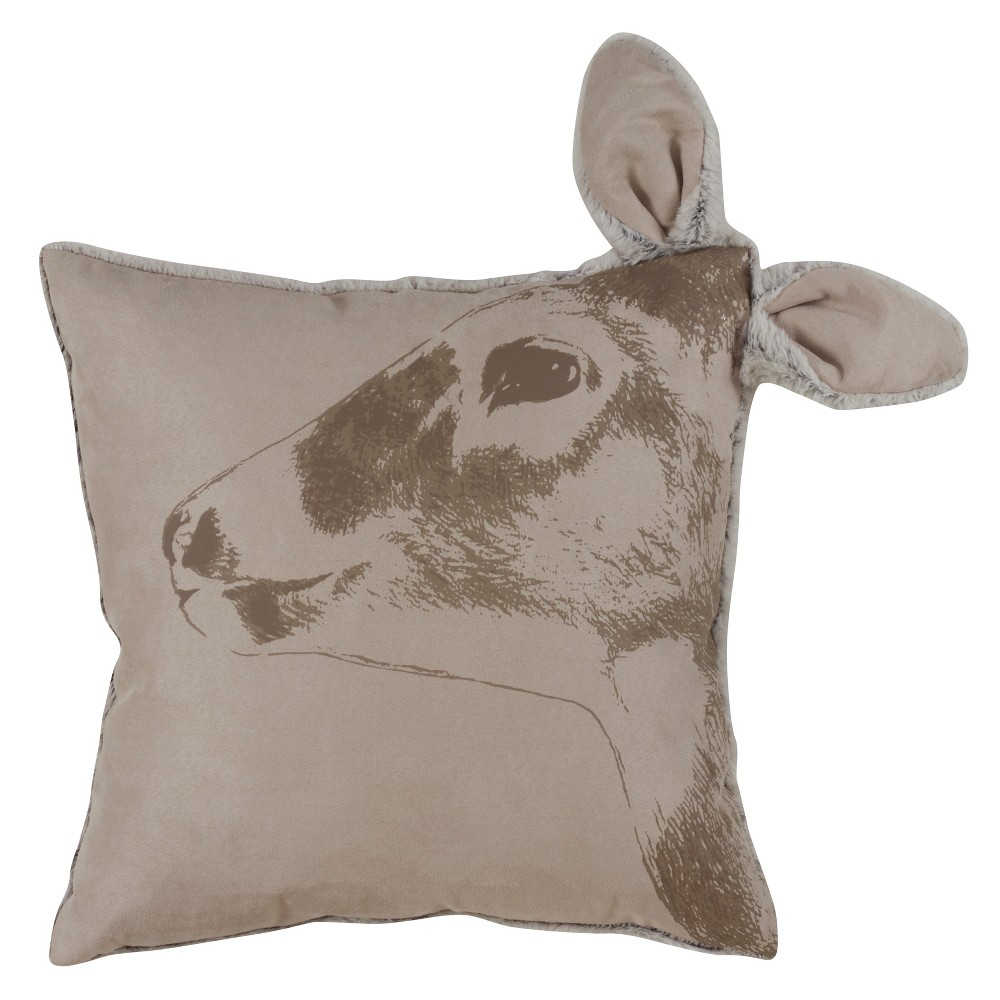 Best Price Deer Head Square Throw Pillow Red Saro Lifestyle