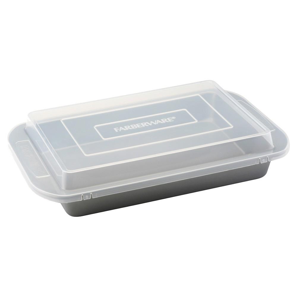 Farberware Rectangular Cake Pan with Plastic Lid (9 x 13), Silver