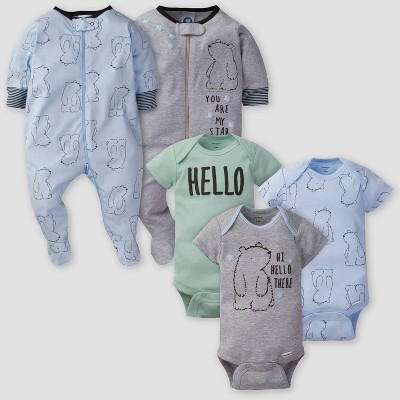 Gerber Baby Boys' 5pk Bear Short Sleeve Onesies and Sleep N' Play - Gray/Blue/Green 3-6M