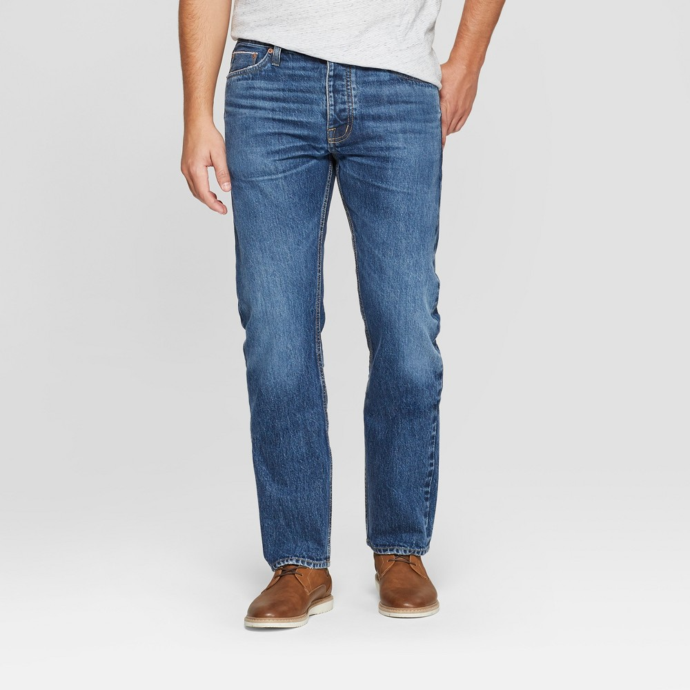 Men's Slim Straight Fit Selvedge Denim - Goodfellow & Co Medium Wash 34x30, Blue