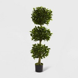 5ft Triple Bay Leaf Topiary UV Resistant - Nearly Natural