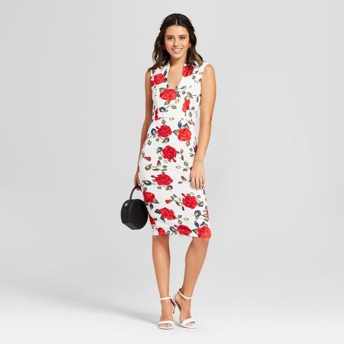 53083d733122 Women s Floral Print Drop Shoulder Dress - Almost Famous (Juniors ) Cream