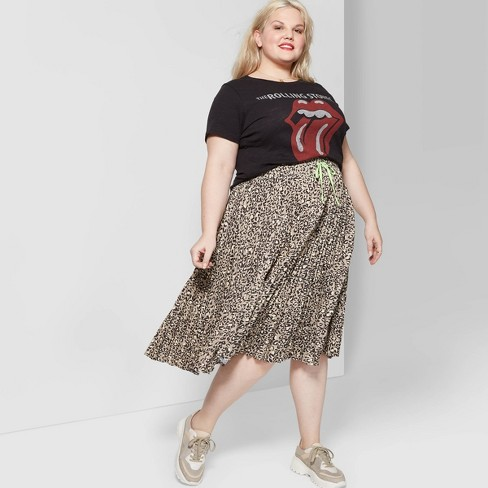b21509cd0ac19b Women's Plus Size Leopard Print Pleated Midi Skirt - Wild Fable™ Black/Tan  : Target