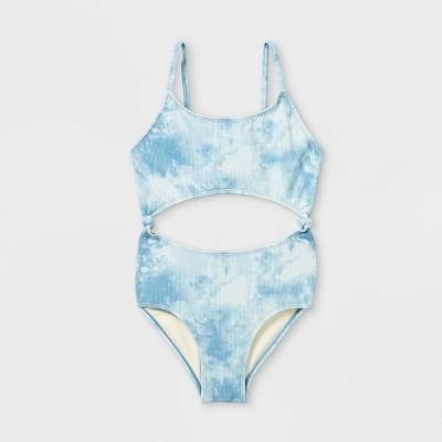 Girls' Cool Tie-Dye One Piece Swimsuit - art class™ Blue