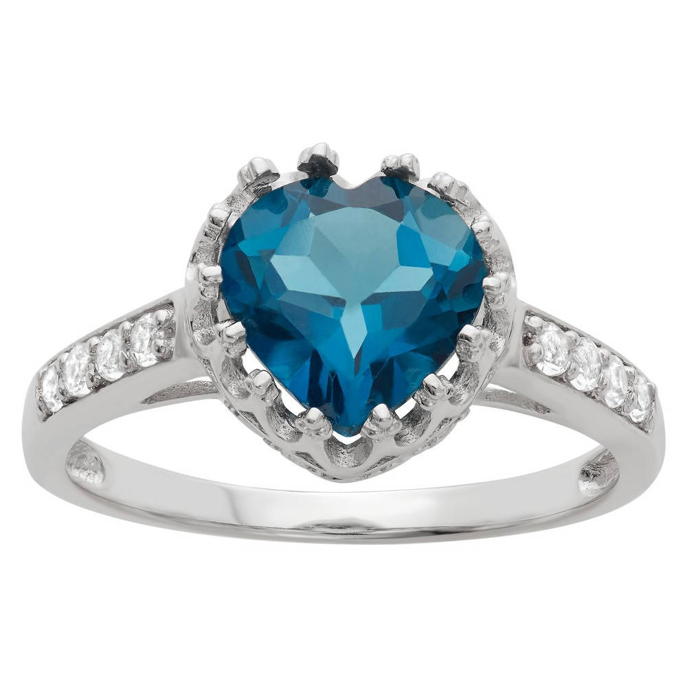 1 3/4 Tcw Tiara Heart-cut Sapphire Crown Ring in Sterling Silver - (8)