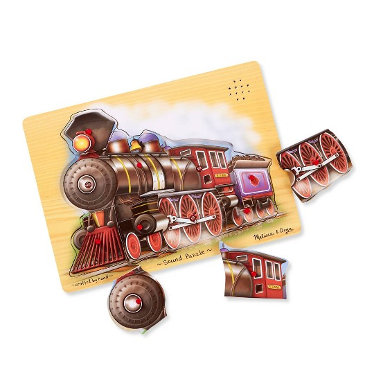 Melissa & Doug Vehicles Sound Puzzles Set: Fire Truck and Train - Wooden Peg Puzzles 2pc image number null