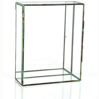 "Northlight 10"" Clear and Brown Contemporary Terrarium Rectangular Glass Tabletop Decor"