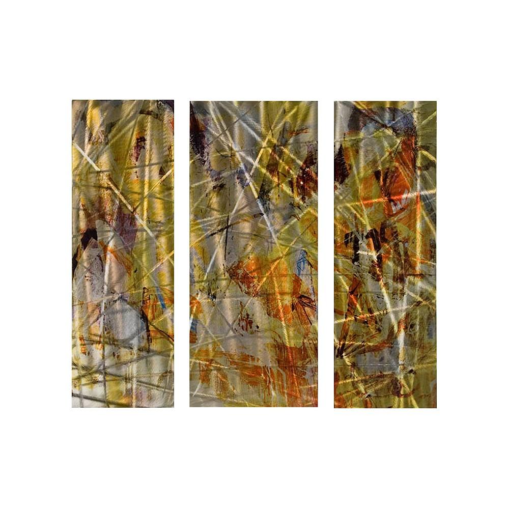 Celebration Modern Metal Wall Art, Orange/Yellow/Gold/Silver