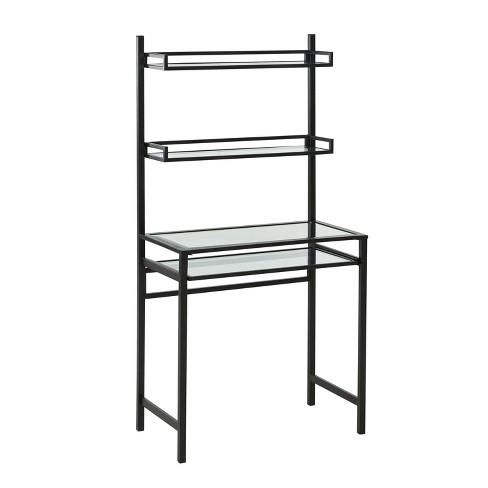 Faulkner Metal Glass Small Space Desk With Hutch Black Aiden Lane