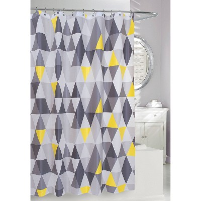 Triangles Shower Curtain Yellow/Gray - Moda at Home